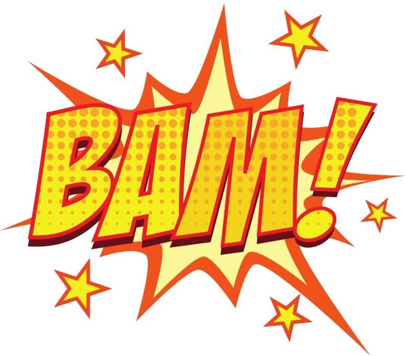 "Comic book pop bubble ""BAM!"""