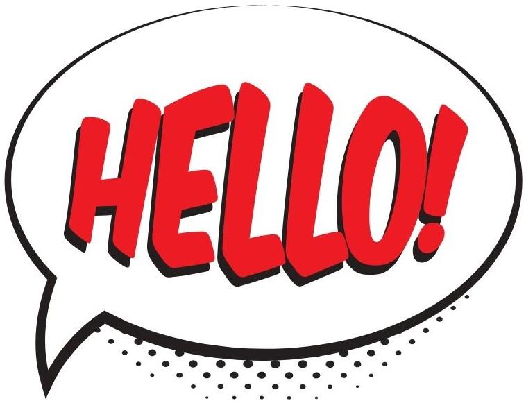 """Graphic speech bubble """"hello!"""""""